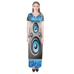 Sound System Music Disco Party Short Sleeve Maxi Dress by Mariart