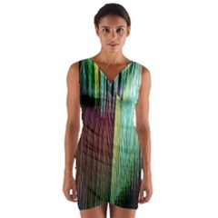 Screen Shot Line Vertical Rainbow Wrap Front Bodycon Dress by Mariart