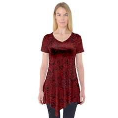 Red Roses Field Short Sleeve Tunic