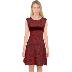 Red Roses Field Capsleeve Midi Dress