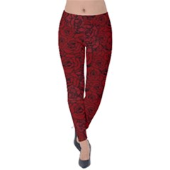 Red Roses Field Velvet Leggings by designworld65