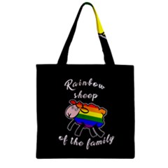 Rainbow Sheep Zipper Grocery Tote Bag by Valentinaart