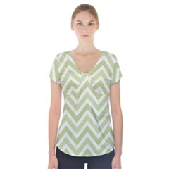 Zigzag  Pattern Short Sleeve Front Detail Top by Valentinaart