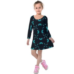 Background Black Blue Polkadot Kids  Long Sleeve Velvet Dress by Mariart