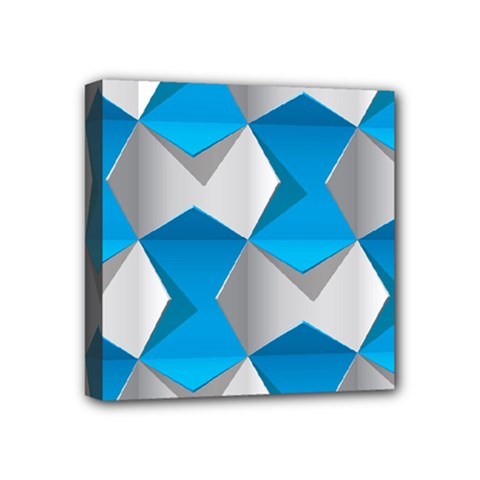 Blue White Grey Chevron Mini Canvas 4  X 4  by Mariart