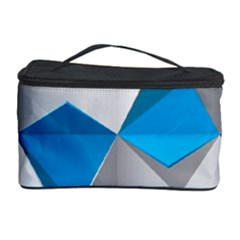 Blue White Grey Chevron Cosmetic Storage Case by Mariart