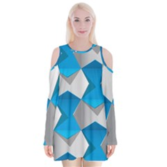 Blue White Grey Chevron Velvet Long Sleeve Shoulder Cutout Dress by Mariart