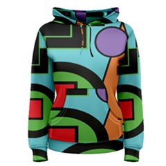 Basic Shape Circle Triangle Plaid Black Green Brown Blue Purple Women s Pullover Hoodie