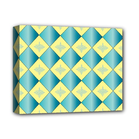 Yellow Blue Diamond Chevron Wave Deluxe Canvas 14  X 11  by Mariart