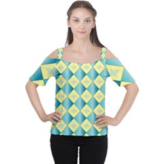 Yellow Blue Diamond Chevron Wave Women s Cutout Shoulder Tee by Mariart