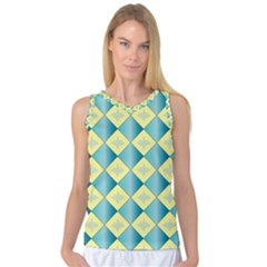 Yellow Blue Diamond Chevron Wave Women s Basketball Tank Top by Mariart