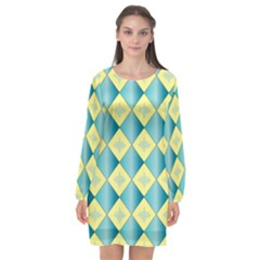 Yellow Blue Diamond Chevron Wave Long Sleeve Chiffon Shift Dress  by Mariart
