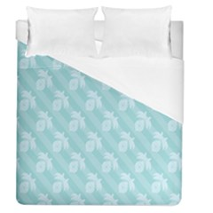 Christmas Day Ribbon Blue Duvet Cover (queen Size) by Mariart