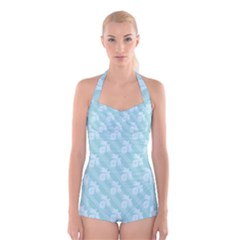 Christmas Day Ribbon Blue Boyleg Halter Swimsuit  by Mariart
