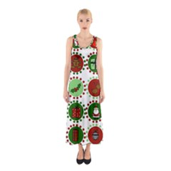 Christmas Sleeveless Maxi Dress by Mariart