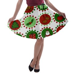 Christmas A-line Skater Skirt by Mariart