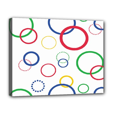 Circle Round Green Blue Red Pink Yellow Canvas 14  X 11  by Mariart