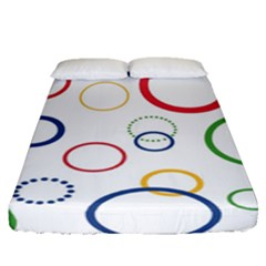 Circle Round Green Blue Red Pink Yellow Fitted Sheet (queen Size) by Mariart