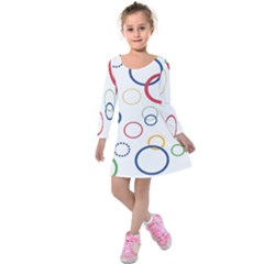 Circle Round Green Blue Red Pink Yellow Kids  Long Sleeve Velvet Dress by Mariart