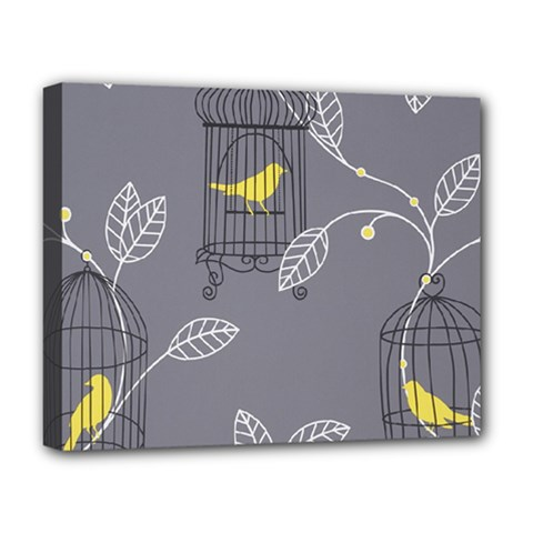 Cagr Bird Leaf Grey Yellow Deluxe Canvas 20  X 16   by Mariart