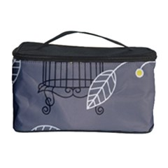 Cagr Bird Leaf Grey Yellow Cosmetic Storage Case by Mariart