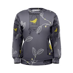 Cagr Bird Leaf Grey Yellow Women s Sweatshirt by Mariart