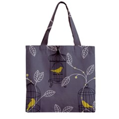 Cagr Bird Leaf Grey Yellow Zipper Grocery Tote Bag by Mariart
