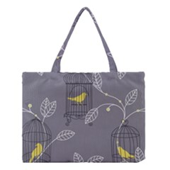 Cagr Bird Leaf Grey Yellow Medium Tote Bag by Mariart