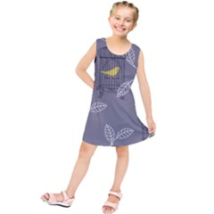 Cagr Bird Leaf Grey Yellow Kids  Tunic Dress by Mariart