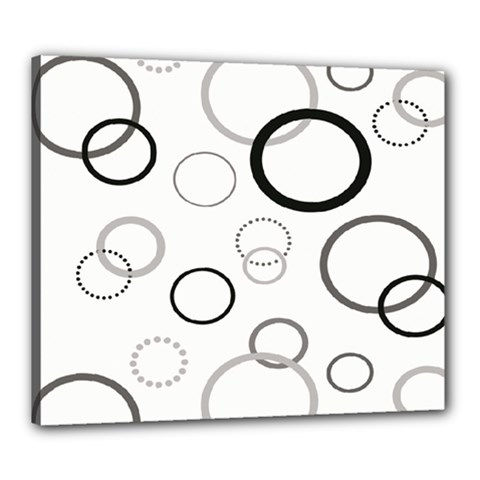 Circle Round Black Grey Canvas 24  X 20  by Mariart