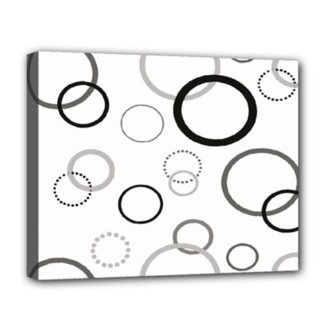 Circle Round Black Grey Deluxe Canvas 20  X 16   by Mariart