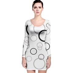 Circle Round Black Grey Long Sleeve Velvet Bodycon Dress by Mariart