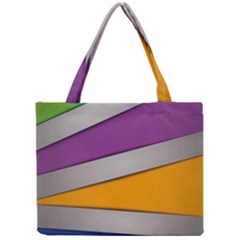 Colorful Geometry Shapes Line Green Grey Pirple Yellow Blue Mini Tote Bag by Mariart