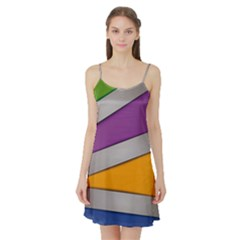 Colorful Geometry Shapes Line Green Grey Pirple Yellow Blue Satin Night Slip by Mariart