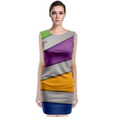 Colorful Geometry Shapes Line Green Grey Pirple Yellow Blue Sleeveless Velvet Midi Dress by Mariart