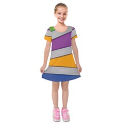 Colorful Geometry Shapes Line Green Grey Pirple Yellow Blue Kids  Short Sleeve Velvet Dress by Mariart