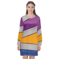 Colorful Geometry Shapes Line Green Grey Pirple Yellow Blue Long Sleeve Chiffon Shift Dress