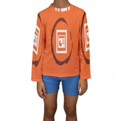 Circles Orange Kids  Long Sleeve Swimwear by Mariart