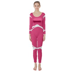 Circle White Pink Long Sleeve Catsuit by Mariart