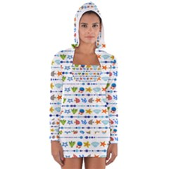 Coral Reef Fish Coral Star Women s Long Sleeve Hooded T Shirt