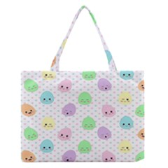 Egg Easter Smile Face Cute Babby Kids Dot Polka Rainbow Medium Zipper Tote Bag by Mariart
