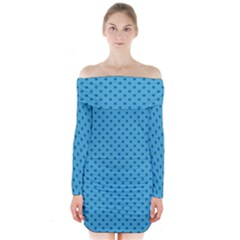Dots Long Sleeve Off Shoulder Dress