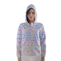 Flower Floral Sunflower Line Horizontal Pink White Blue Hooded Wind Breaker (women)