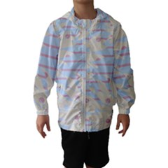 Flower Floral Sunflower Line Horizontal Pink White Blue Hooded Wind Breaker (kids) by Mariart