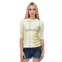 Flower Floral Yellow Quarter Sleeve Tee by Mariart