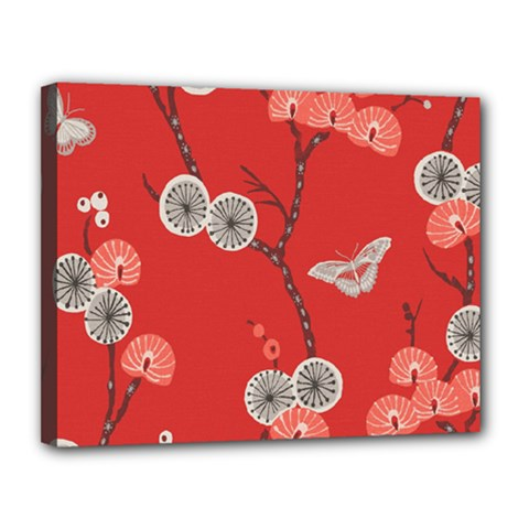 Dandelions Red Butterfly Flower Floral Canvas 14  X 11  by Mariart