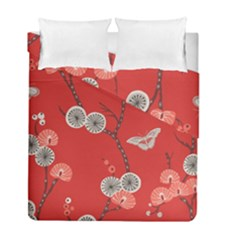 Dandelions Red Butterfly Flower Floral Duvet Cover Double Side (full/ Double Size)