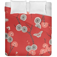 Dandelions Red Butterfly Flower Floral Duvet Cover Double Side (california King Size) by Mariart