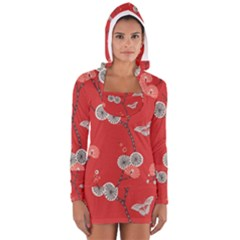 Dandelions Red Butterfly Flower Floral Women s Long Sleeve Hooded T-shirt