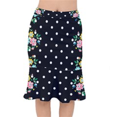 Flower Frame Floral Polkadot White Black Mermaid Skirt